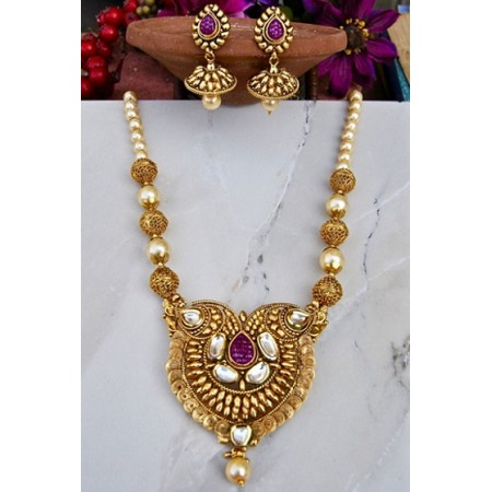 Antique Designer Paan Chakri Kundan Necklace Set with Rubies