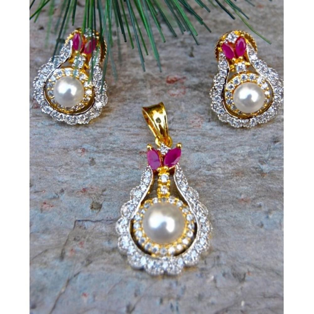 Pearl drop ruby diamond pendant set aloadofball Image collections