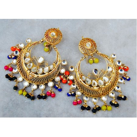 Multicolor Kundan Earrings