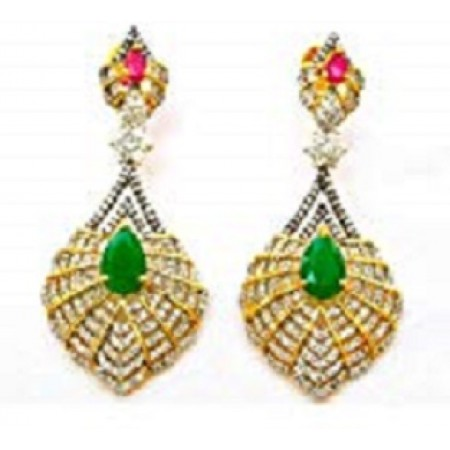 Emerald Drop Diamonds Earrings