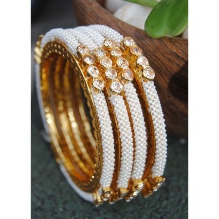 American Diamond Studded Chid Pearl Bangles