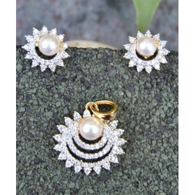 Buy pendant sets online at orne jewels floral american diamond pendant set with pearl aloadofball Gallery