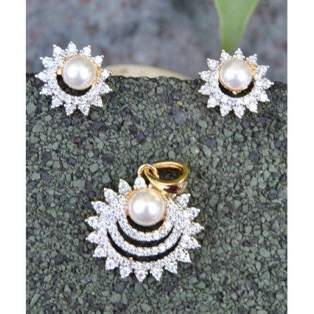 Floral American Diamond Pendant Set with Pearl