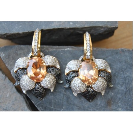 Champagne Studded American Diamonds Earrings