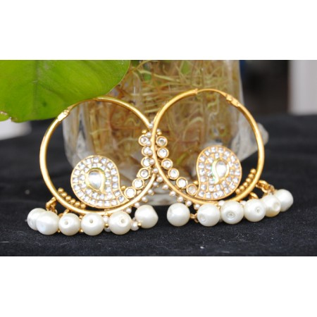 Gold White Pearl Drop Chand Bali Earrings With Maang Tikka