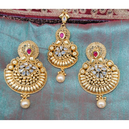 Gold Pearl Drop Chand Bali Earrings With Maang Tikka