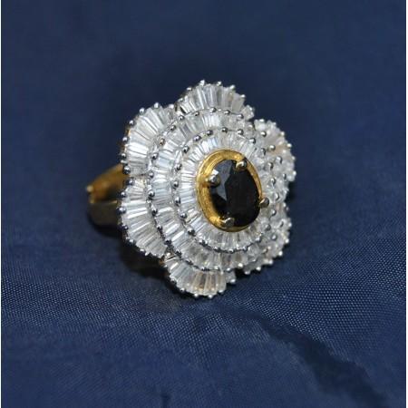 Baguette Diamond Studded  Cocktail Ring