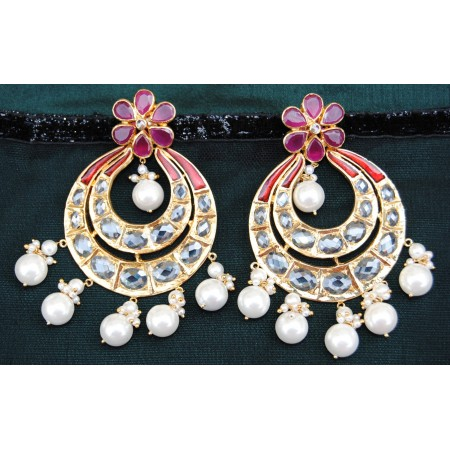 Floral Ruby Gold Chand Bali Earrings