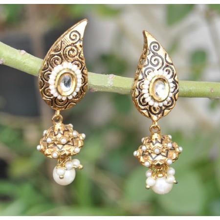 Golden Kundan Pearl Jhumka Earrings