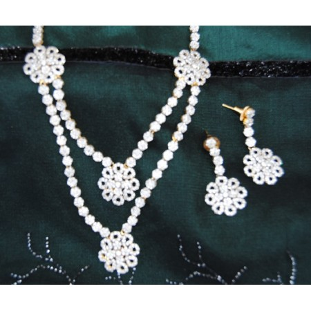 American Diamond Floral Necklace Set