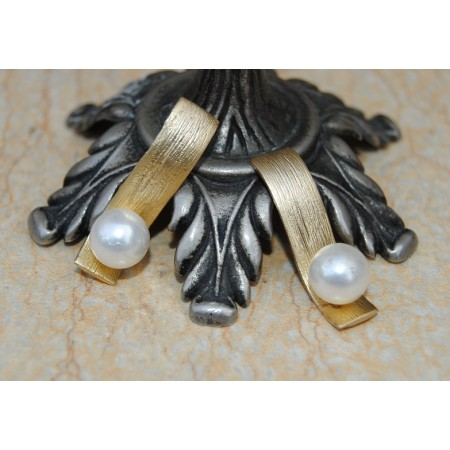 Sleek Gold Pearl Stud Earrings