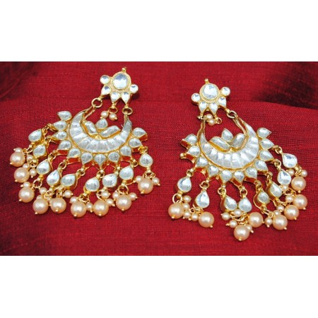 Polki Diamond Pearl Chand Bali Earrings