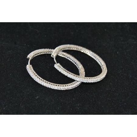 Crystal Studded Gold Hoop Earrings