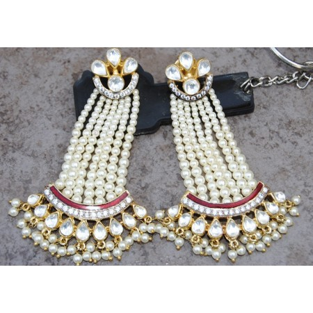 Royal  Pearl Kundan Enamel Dangler Earrings