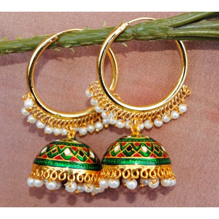Colorful Green Gold Bali  Meenakari  Jhumkas