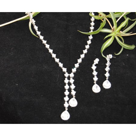 American Diamond Necklace Set with Drops