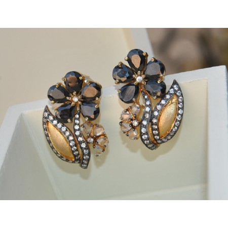 Black Diamond Flower Stud Earrings