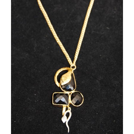 Black Onyx Snake Pendant with Gold Chain