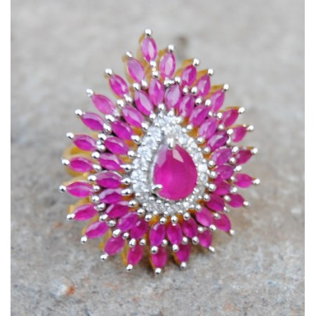 Ruby Studded Cocktail Ring