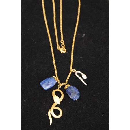 Blue Lapiz Snake Pendant with Gold Chain