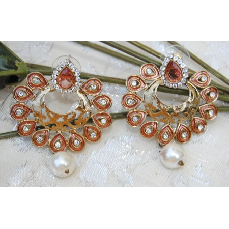 Pink Diamond Chand Bali Earrings