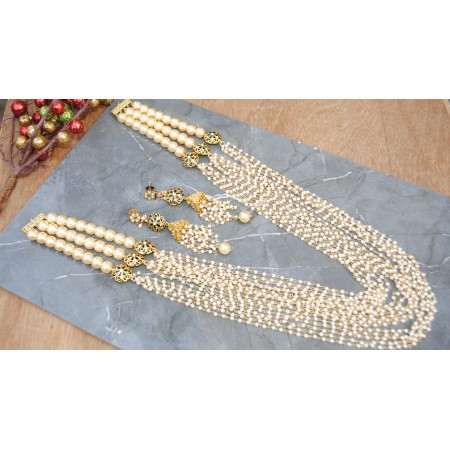Multistring Pearl Mala Designer Necklace Set