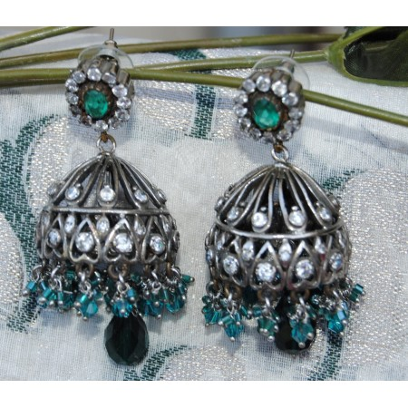 Sea Green Silver Jhumka Earrings