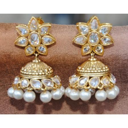 Floral Polki Diamond Stud Pearl Jhumka Earrings