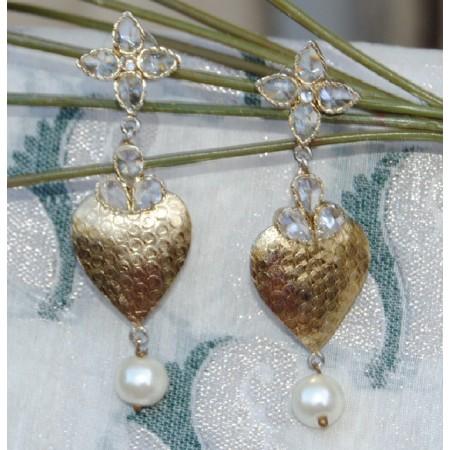 Crystal Gold Leaf Earrings