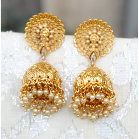 Floral Stud Gold Jhumkas with Pearls