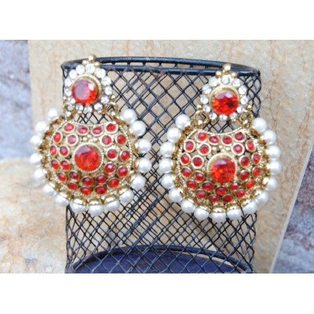 Delight Red Chand Bali Earrings