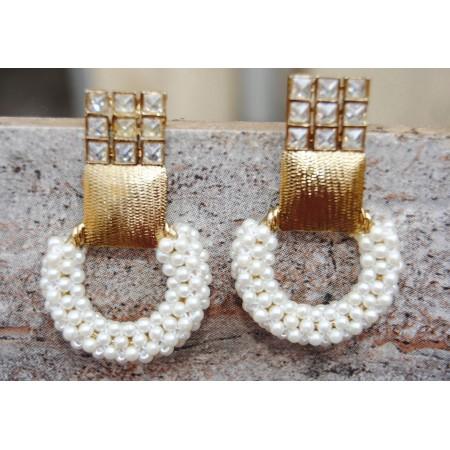 Pearl Gold Loop Earrings
