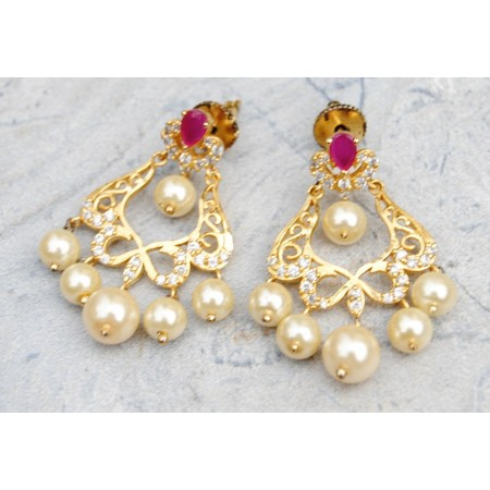 Ruby Diamond Dangler Earrings