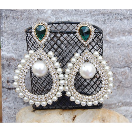 Pearly Green Brilliance Dangler Earrings