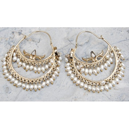 Uncut Diamonds Studded Pearl Hoop Earrings