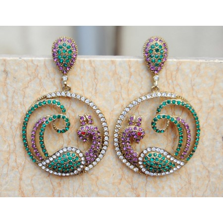 Colorful Peacock Crystal Earrings
