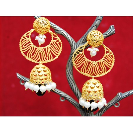 Matte Gold Chand Jhumkas with Onyx Drop