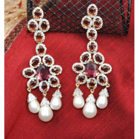 Wine Diamond Pearl Earrings