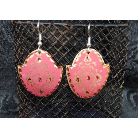 Gold Pink Turkish Earrings
