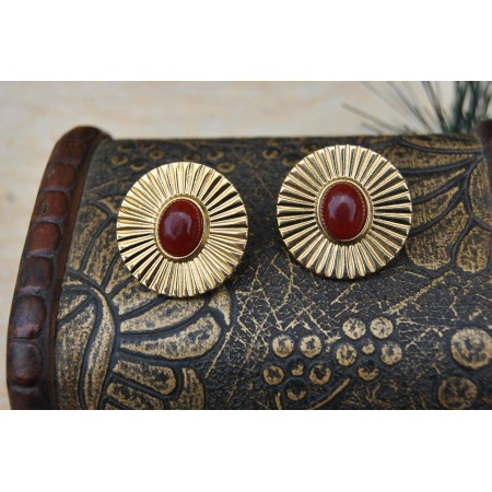 Gold Red Stud Earrings