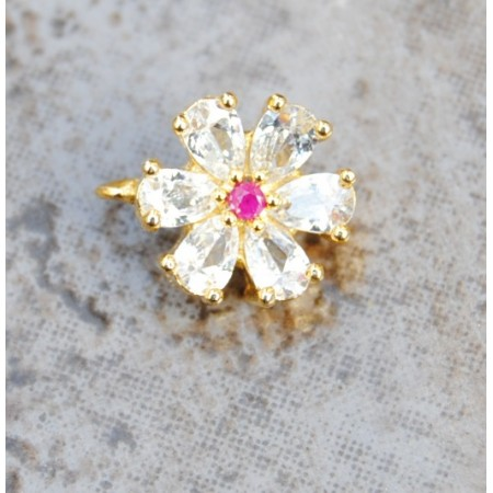 Floral American Diamond Nose Ring