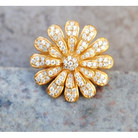 American Diamond Studded Floral Cocktail Ring