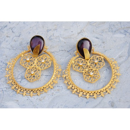 Ethnic Gold Plated Filigree Lilac Onyx Earrings