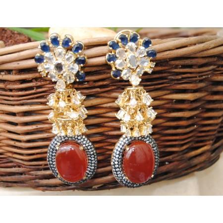 Oval Carnelian Drop Diamond Earrings