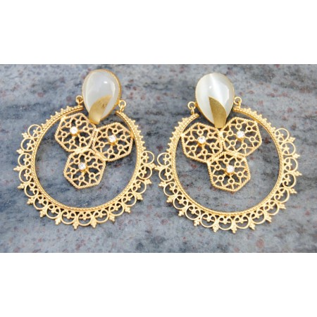 Ethnic Gold Plated Filigree Moonstone Earrings