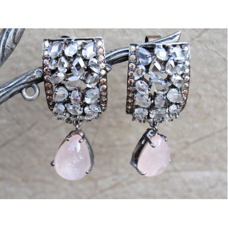 Uncut Diamond  Dangler With Rose Quartz Drops
