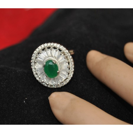 Baguette Diamond Studded Emerald Cocktail Ring
