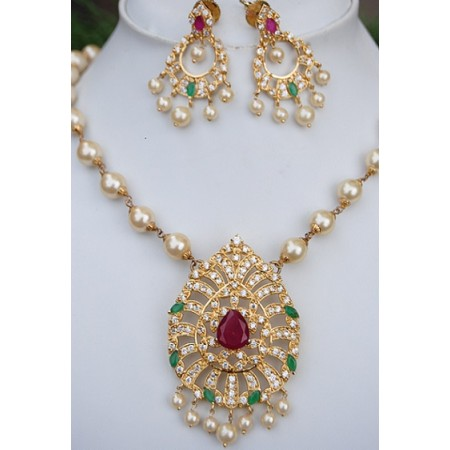 American Diamond Necklace Set with Pearl Chain, Emeralds and Rubies