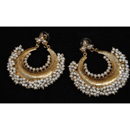 Pearly Gold Chand Bali Earrings