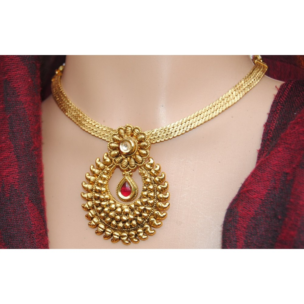 Ruby gold plated pendant set aloadofball